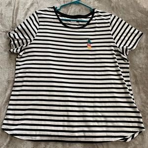 Black and white stripped T-shirt with pineapple.